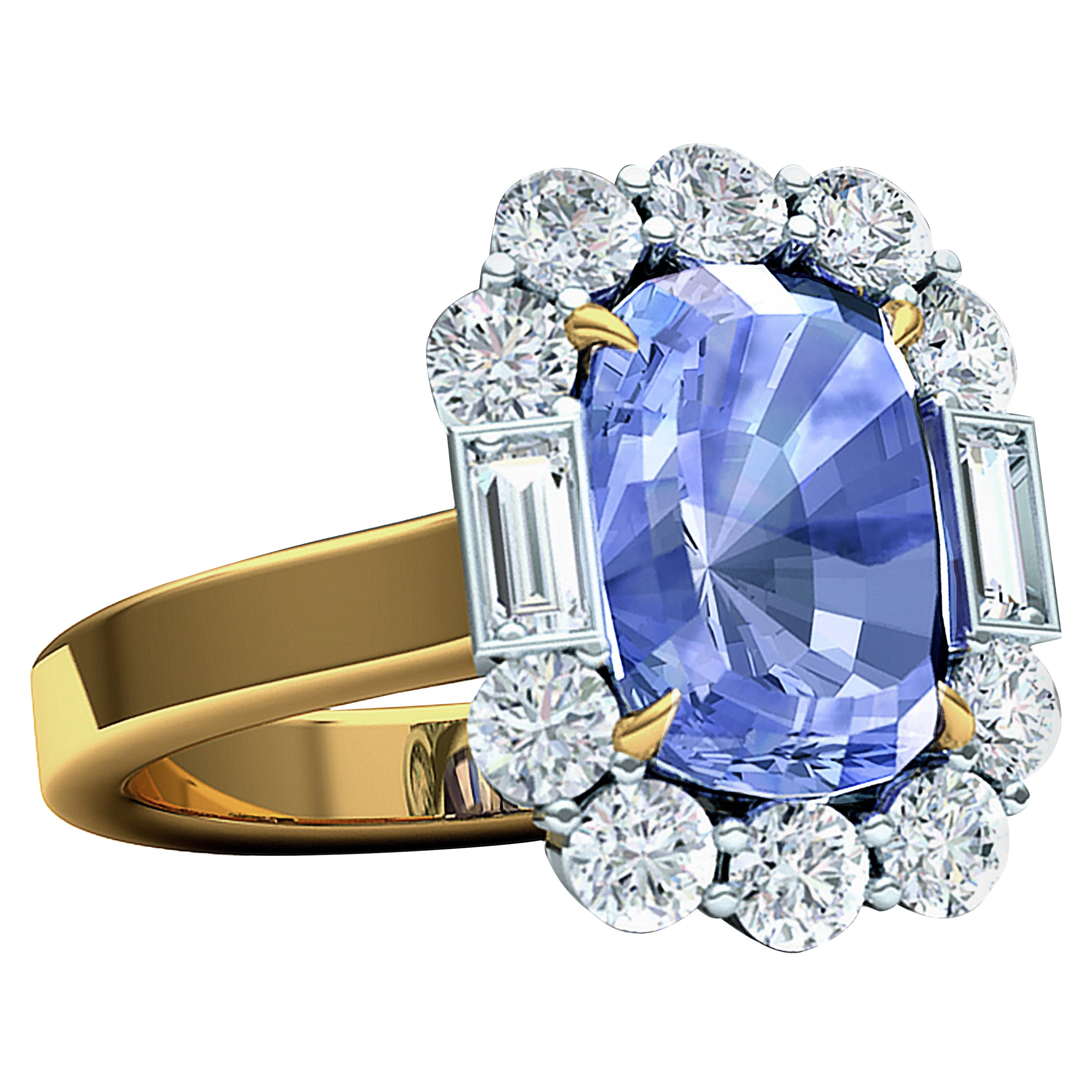 5.45 Sapphire Certified Unheated Diamond Platinum and Yellow Gold Ring