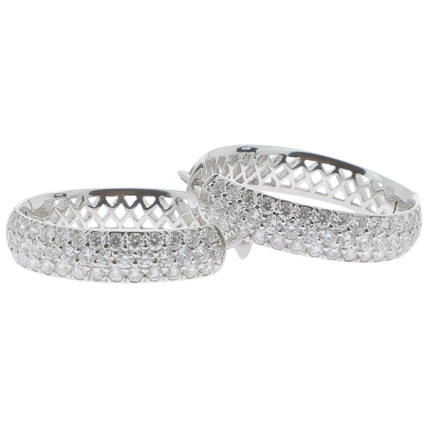 1.80 Carat Large Hoop Earrings 18K White Gold Hoop Gold Earrings Diamonds Hoops