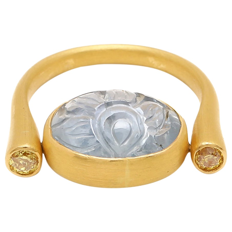 Natural Carved Sapphire and Diamond moving Ring in 22 Karat Matte Finished Gold