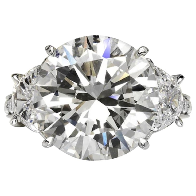 GIA Certified 6.50 Carat Round Brilliant Cut Solitaire Ring PLAT F/VS1