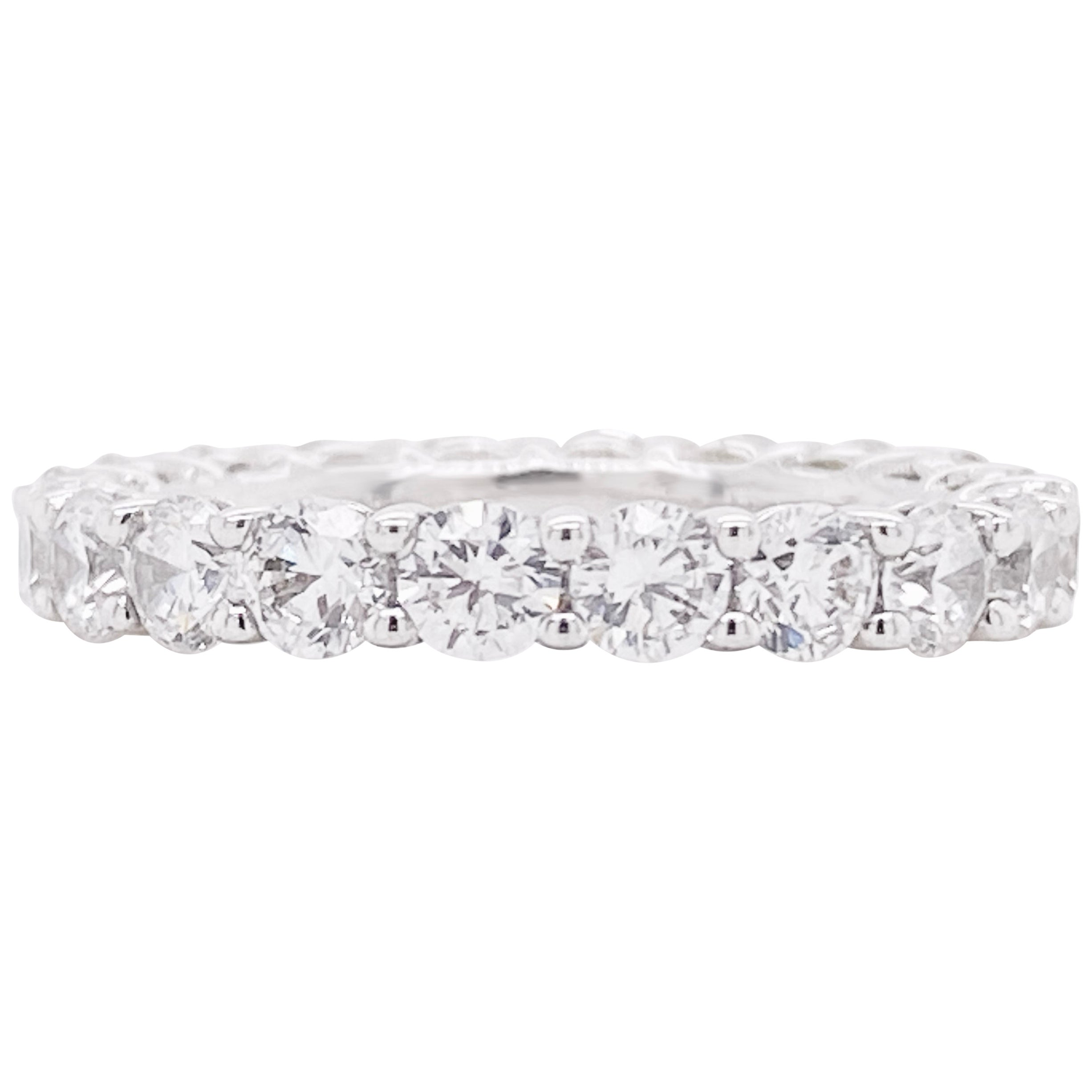Diamond Band Ring, Eternity Band, 14 Karat White Gold, Wedding, Fashion