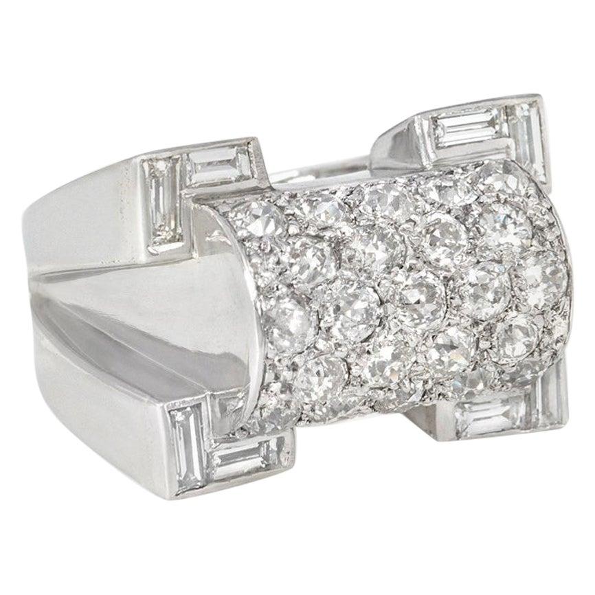 Retro Diamond, Platinum, and Gold Ring of Geometric Sculptural Design