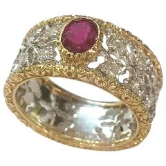 Buccellati ruby diamond two color gold ring
