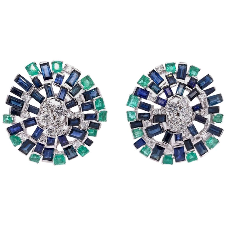 Ruchi New York Blue Sapphire, Emerald and Diamond Stud Earrings