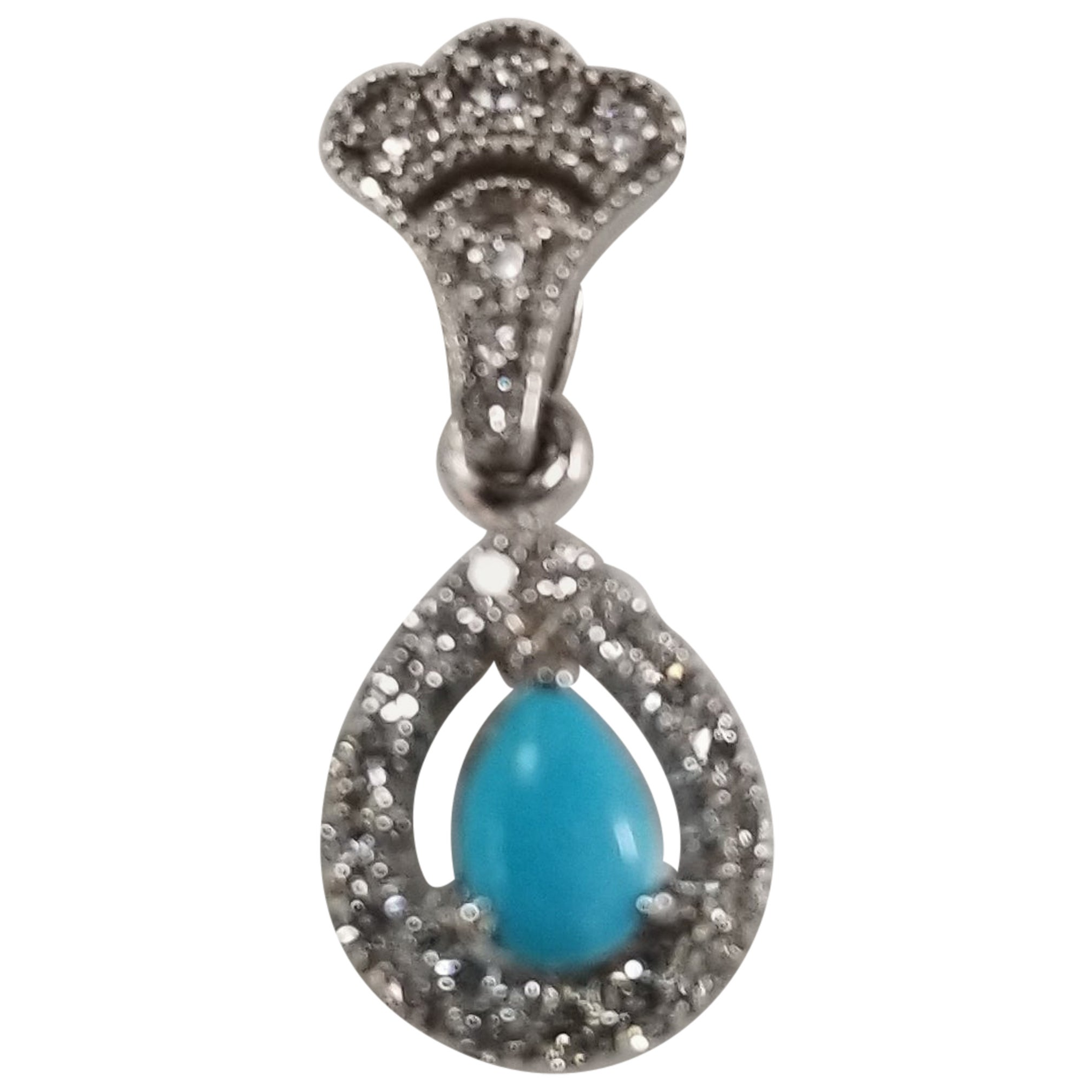 14 Karat White Gold Turquoise and Diamond Pendant
