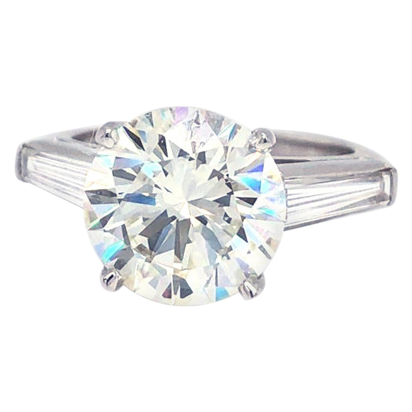 GIA Certified 4.03 Carat Round Brilliant Cut Baguette VS1 Diamond Platinum Ring