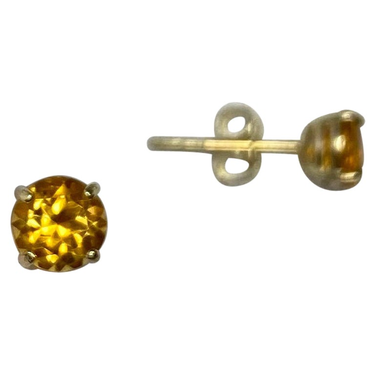 Orange Yellow Champagne Topaz Round Diamond Cut 9 Karat Gold Earring Studs