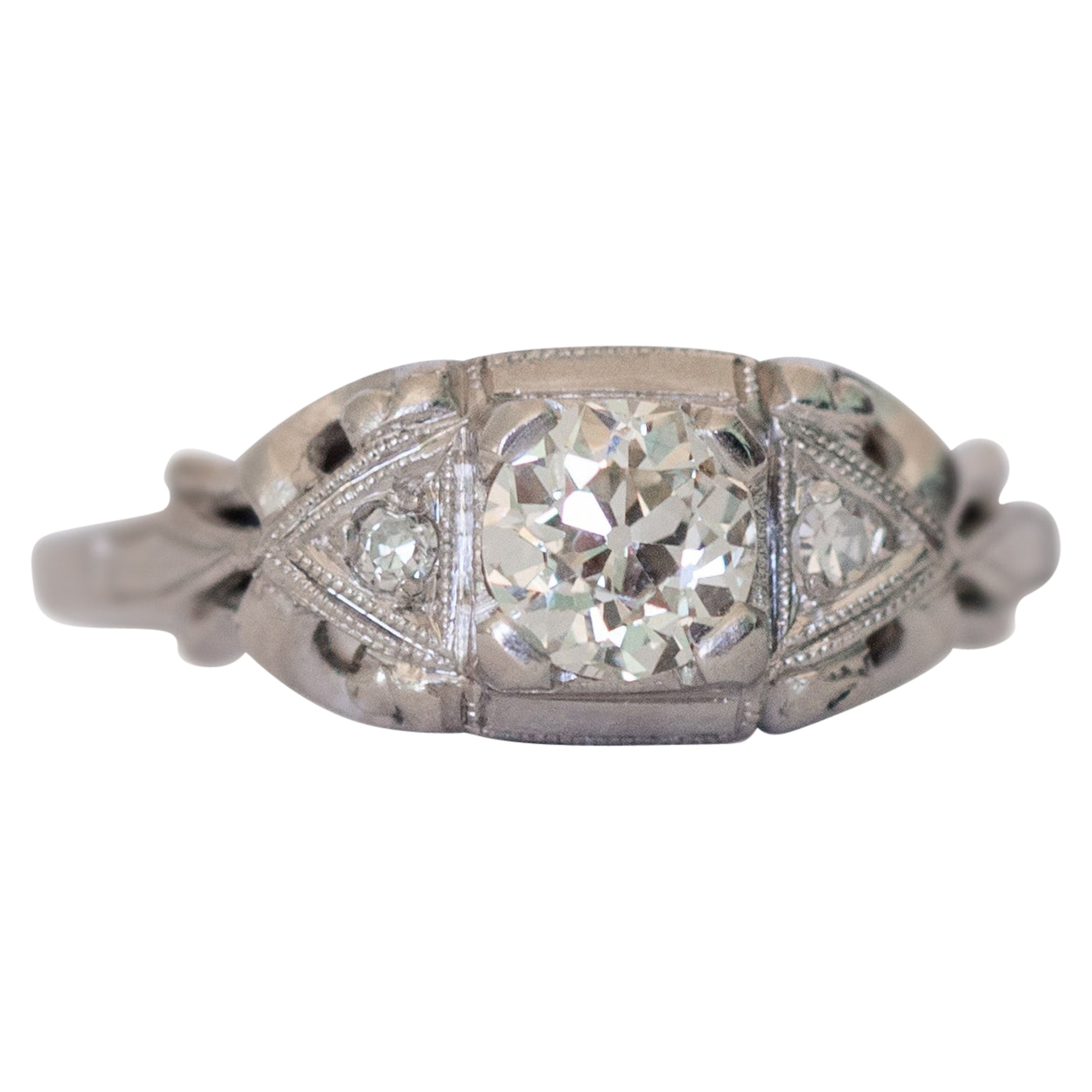 GIA Certified .42 Carat Diamond Platinum Engagement Ring