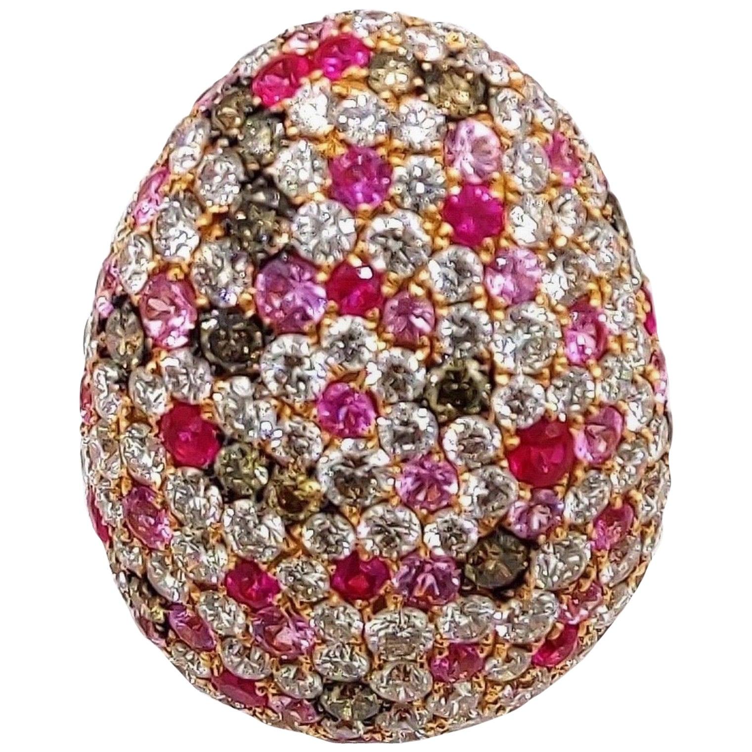 Multi Sapphire Diamond 18 Karat Rose Gold Bombe Ring