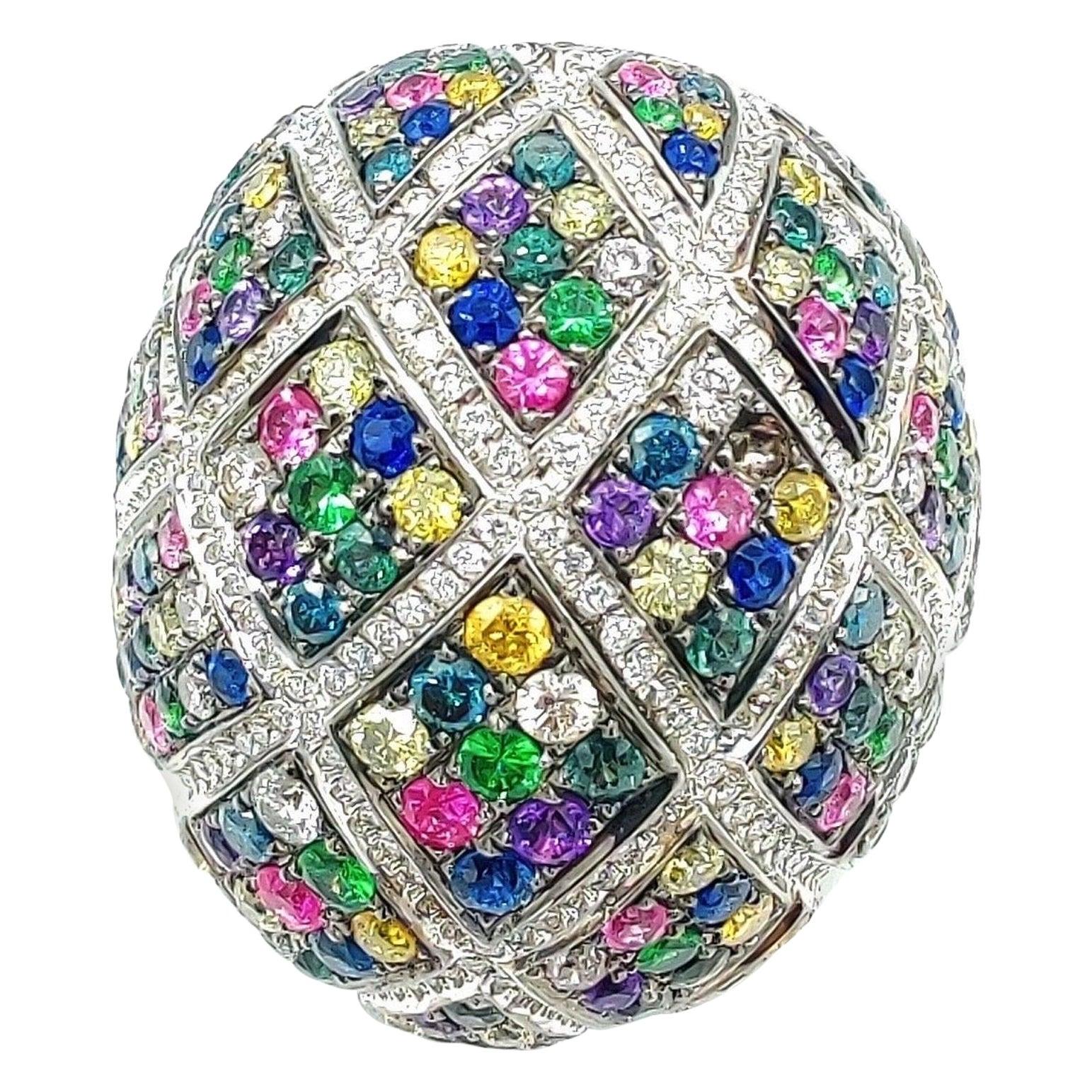 Multi Sapphire Tsavorite Diamond 18 Karat Gold Bombe Ring