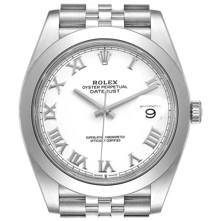 Rolex Datejust 41 White Dial Steel Men's Watch 126300 Box Card Unworn