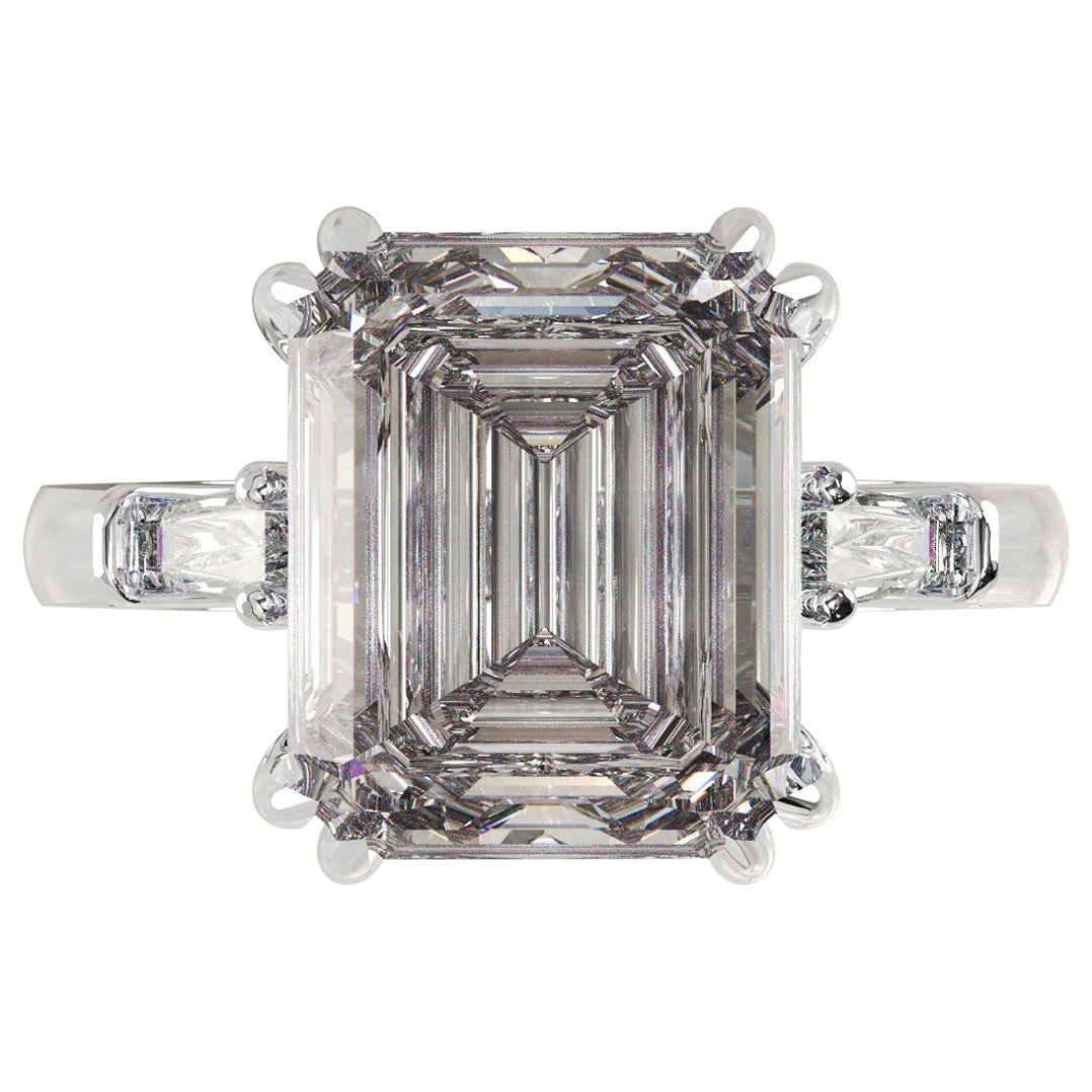 GIA Certified 3.50 Carat Emerald Cut Engagement Platinum Ring D Color VS2