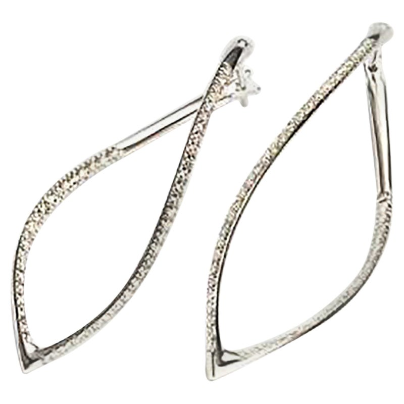 Mattioli Navettes Earrings in White Gold and White Diamonds