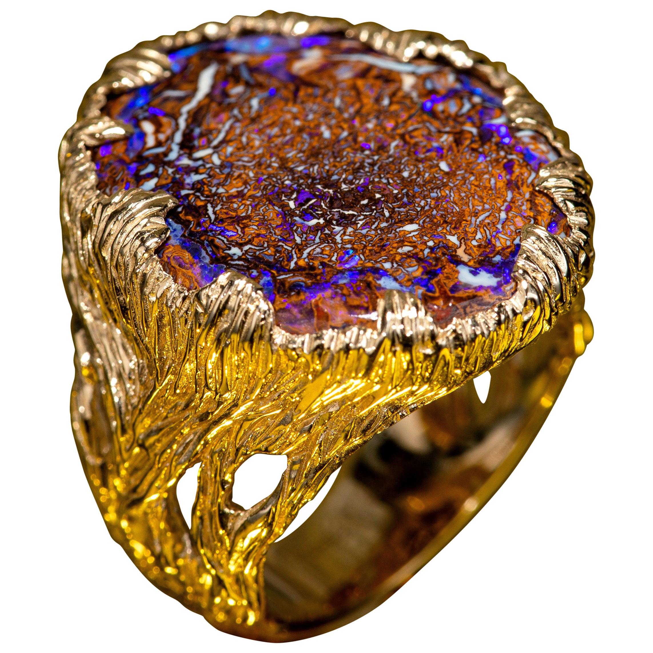 Australian Boulder Opal Yellow Gold Ring Fine Unisex Jewelry Christmas gift him