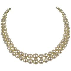 Elegant Classic 1920s Double Strand Pearl Diamond White Gold Necklace