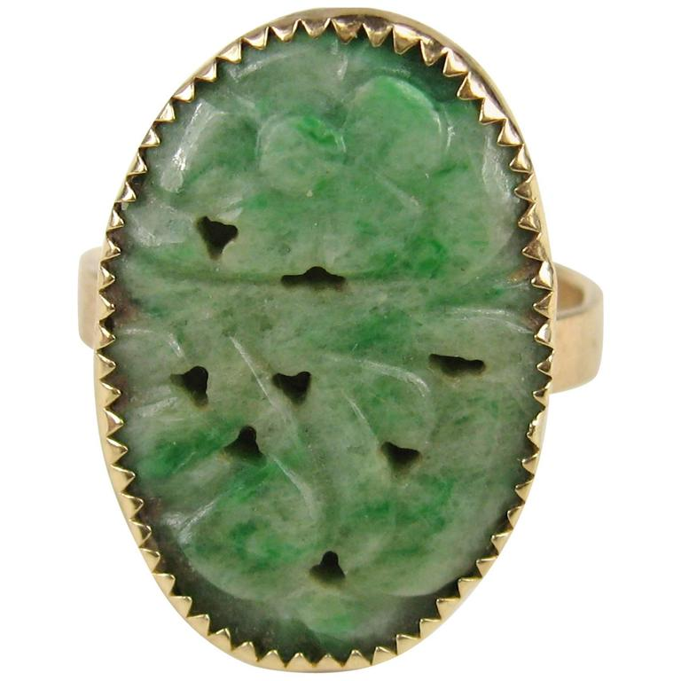 antique yellow gold carved jade ring for sale at 1stdibs