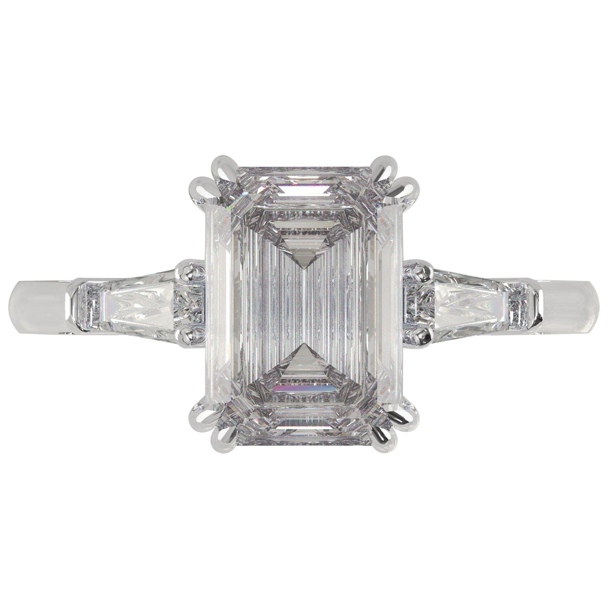 GIA Certified 1.81 Carat Emerald Cut Diamond Ring