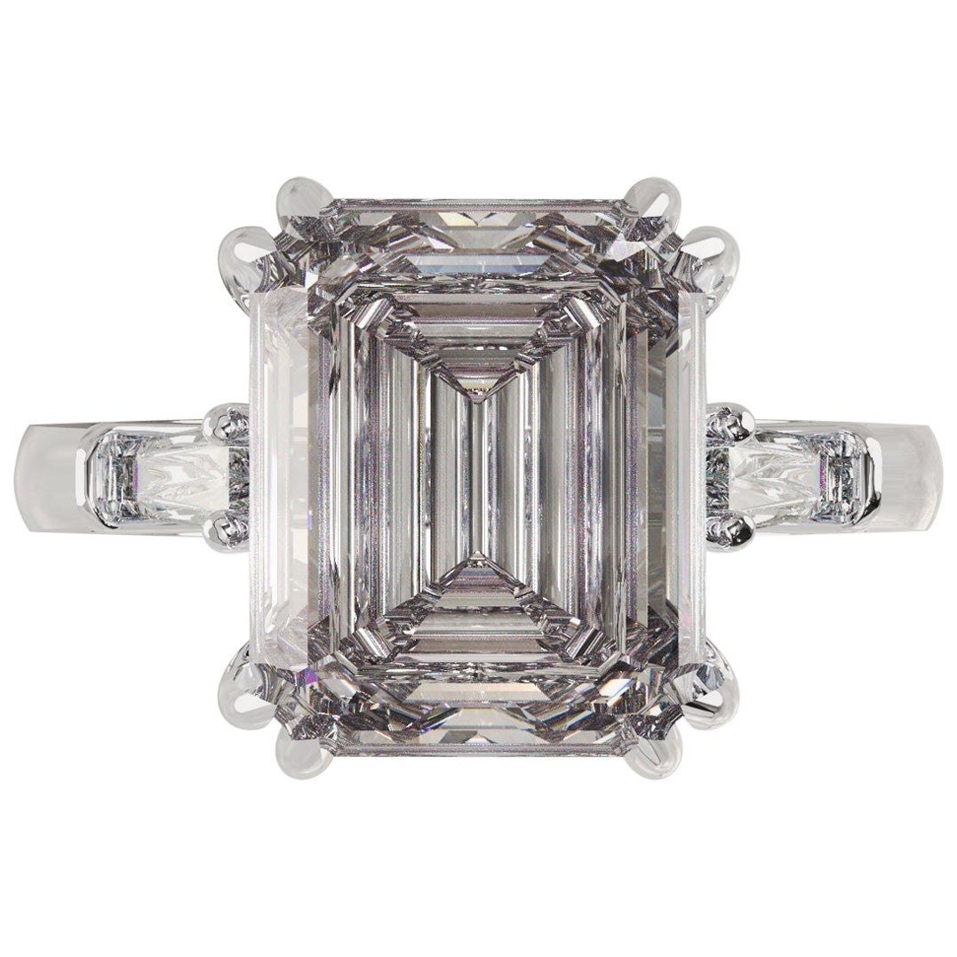 GIA Certified 3.50 Carat Emerald Cut Diamond Ring H Color VS1 Clarity