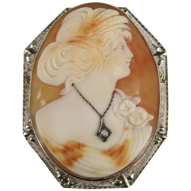 Antique Victorian White Gold Cameo and Diamond Shell Brooch, Pendant