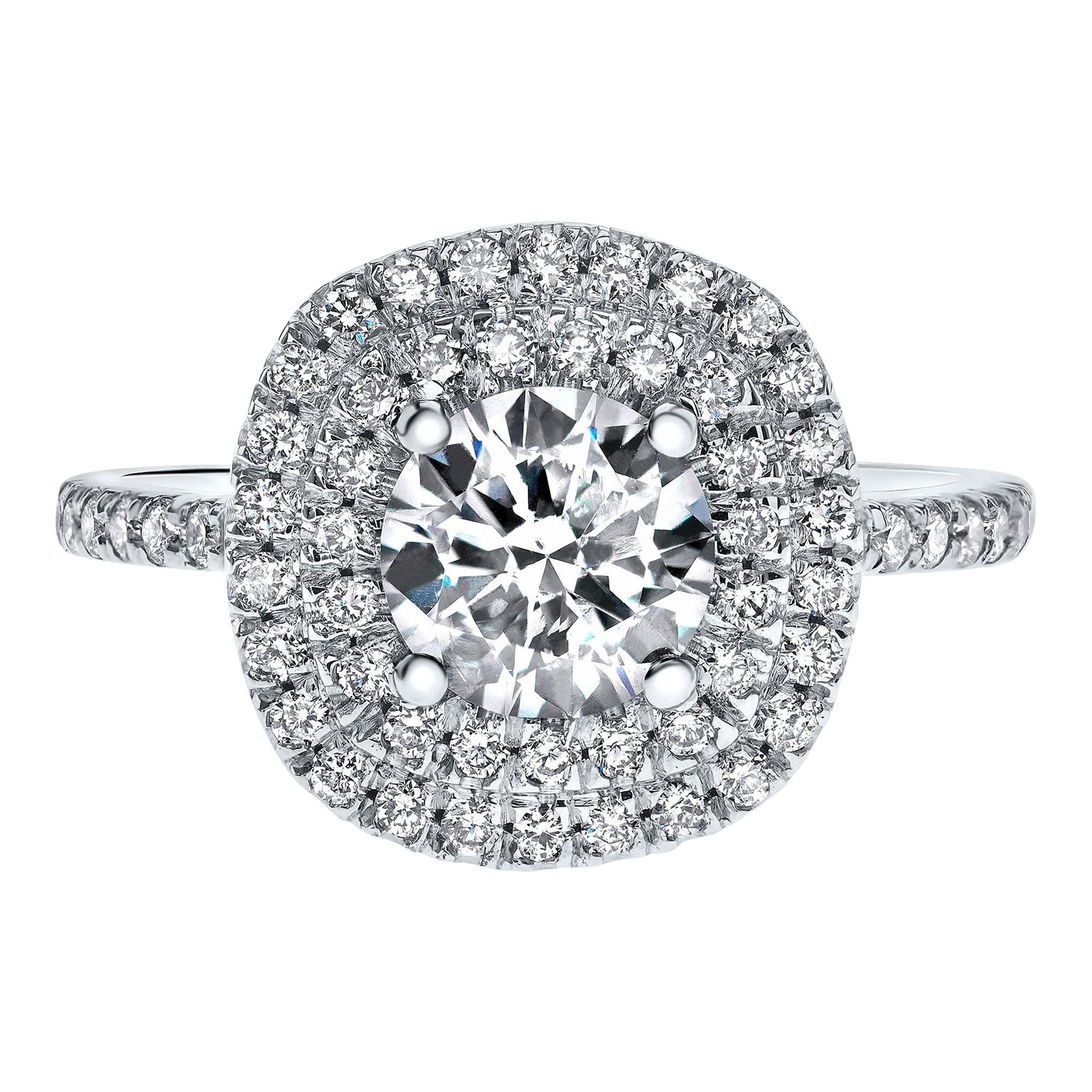 14 Karat White Gold Double Halo 1.55 Carat Diamond Ring - Shlomit Rogel
