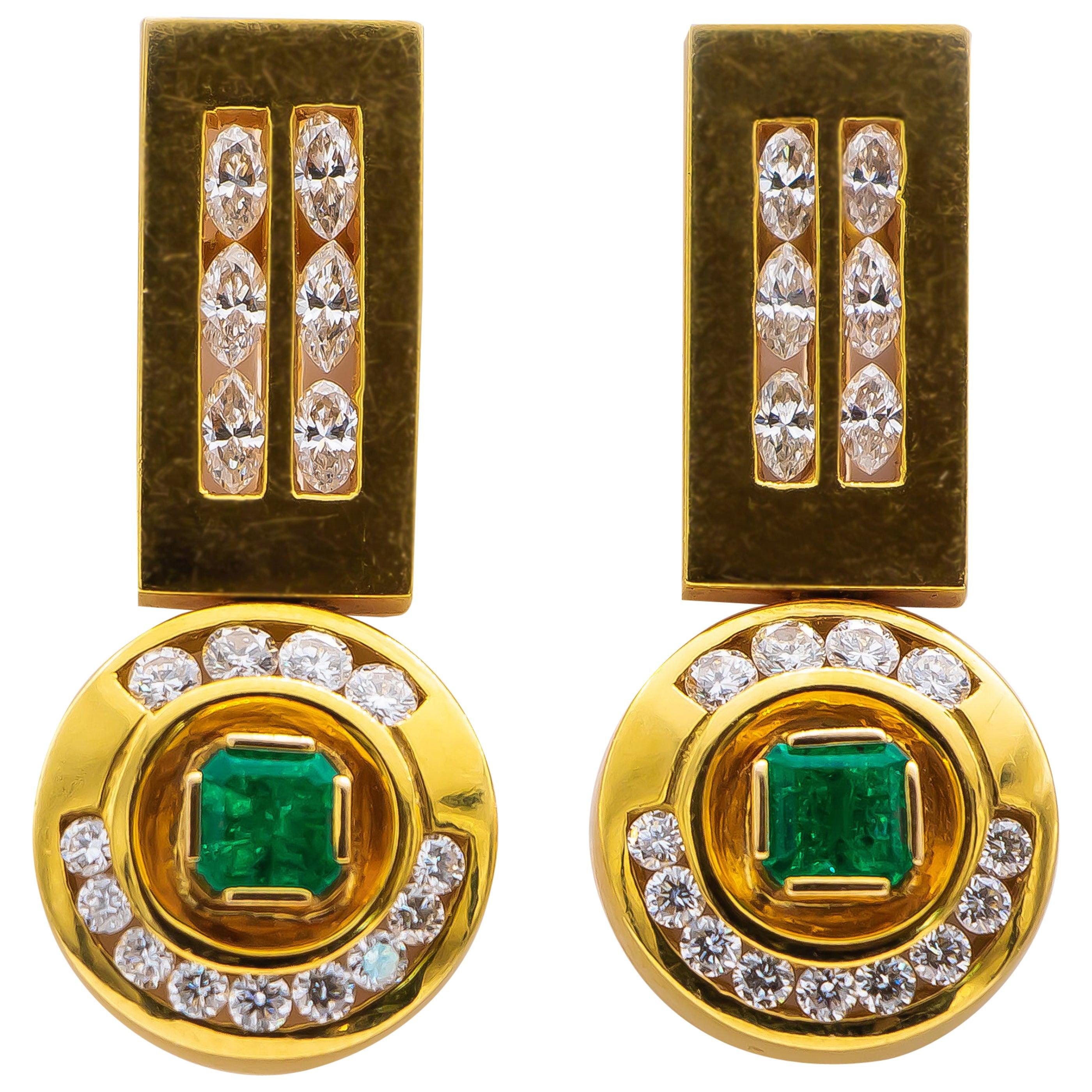 Colombian Emeralds 1.20 Carat Earrings with 1.20 Carat Diamonds