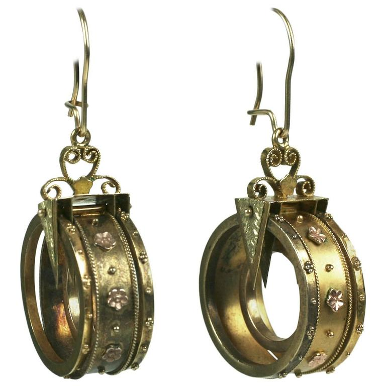 Unusual Gold Victorian Revivalist Earrings For Sale
