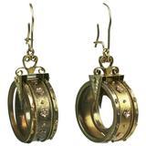 Unusual Gold Victorian Revivalist Earrings