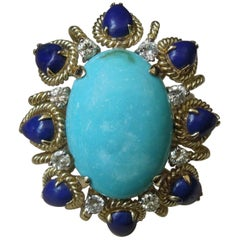 Midcentury Turquoise, Lapis Lazuli and Diamond Ring