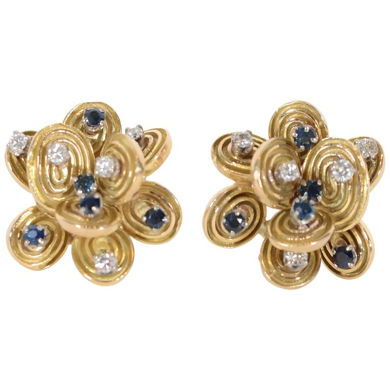 Sapphire Diamond Gold Stud Earrings For Sale