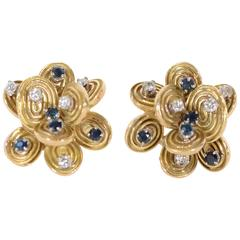Sapphire Diamond Gold Stud Earrings