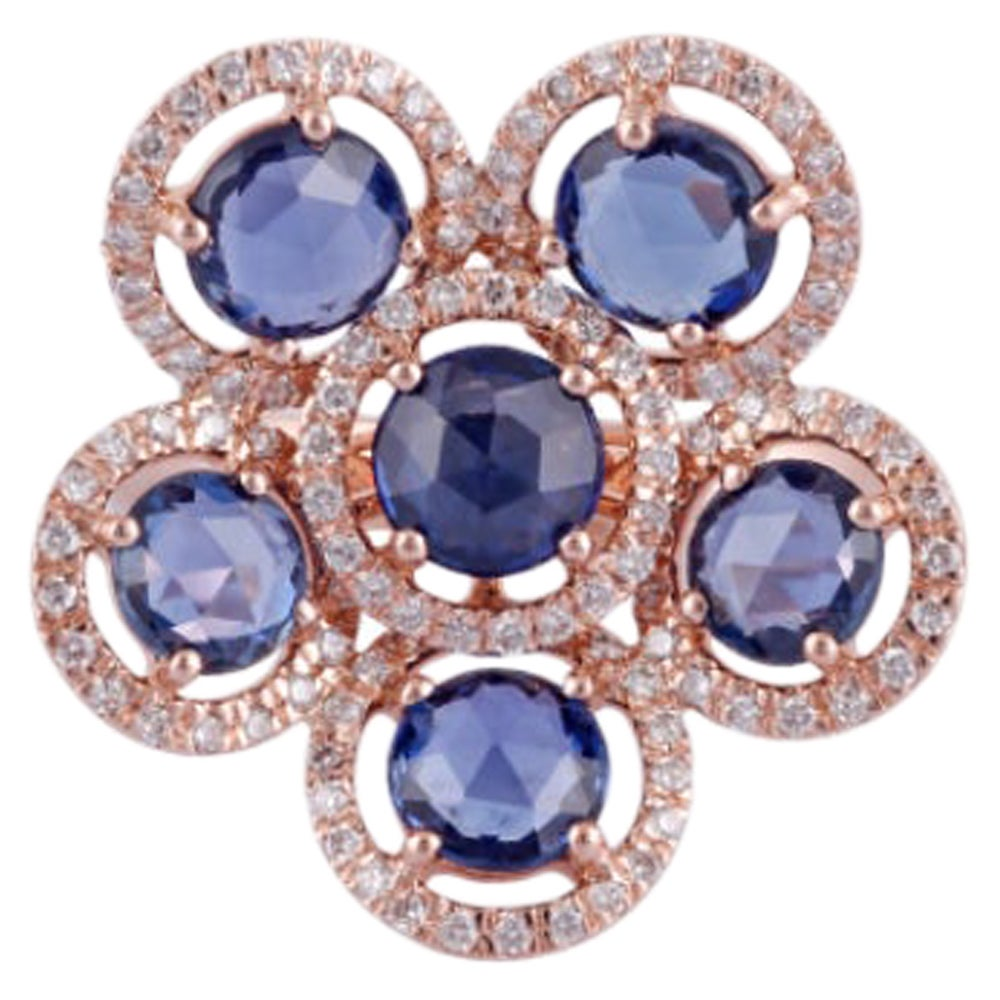 Sapphire and Diamond Ring Studded in 18 Karat Rose Gold