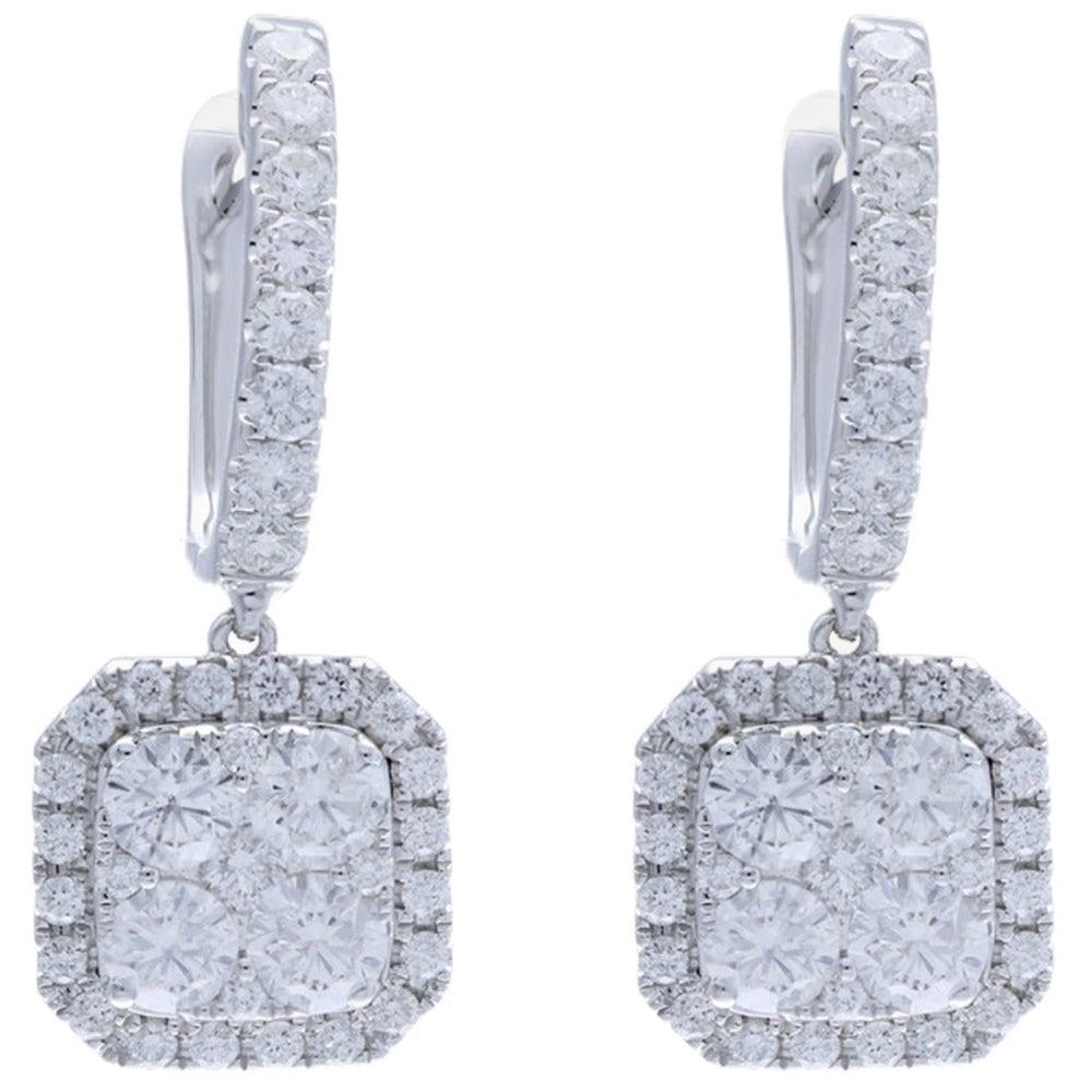 2.13 Carat Cushion Shape Diamond Lever Back Earrings 14 Karat Gold Diamonds