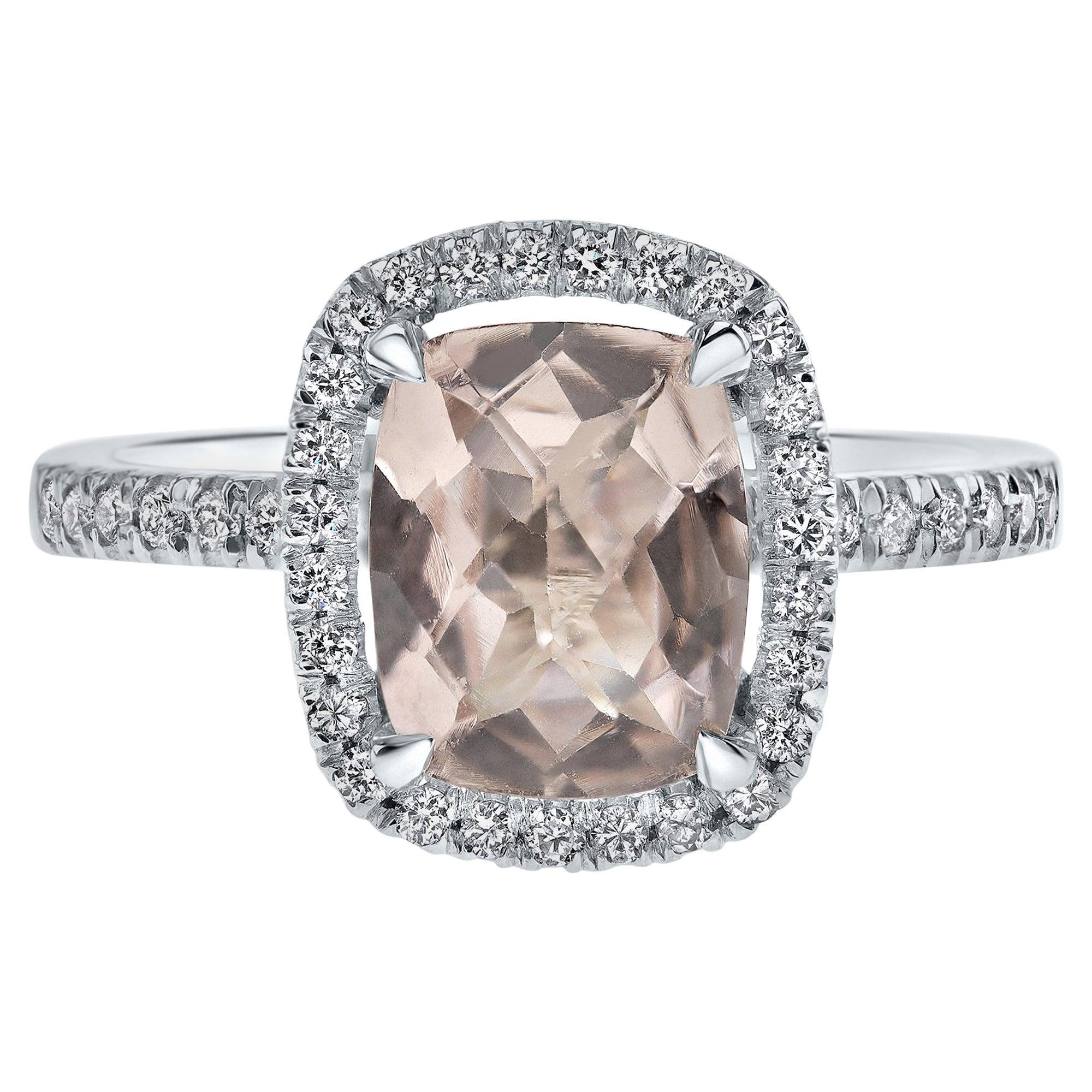 Shlomit Rogel, 1.7 Carat Morganite and Diamonds Ring in 14 Karat White Gold