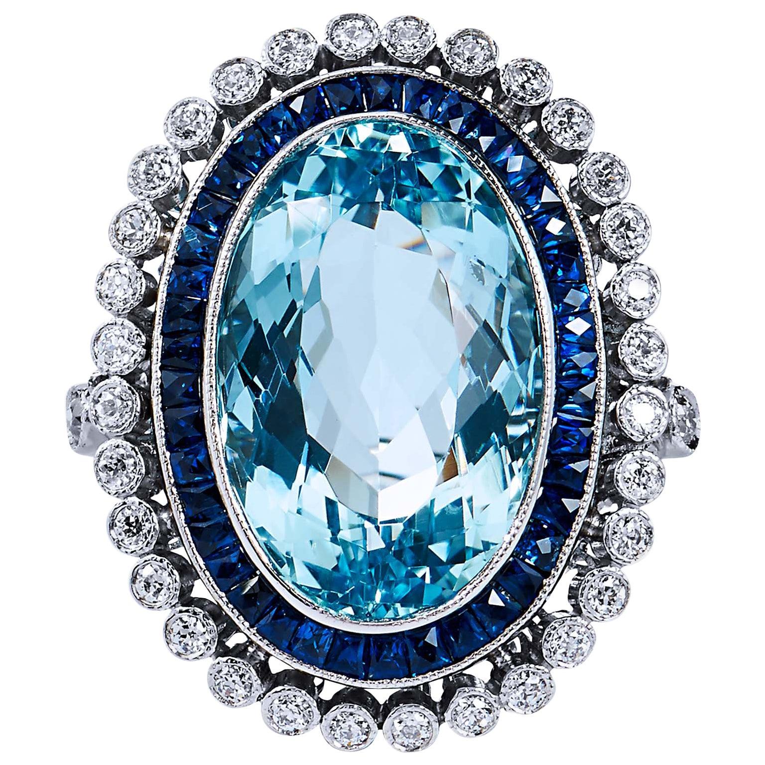 GIA Cert Art Deco Style 10.54 Carat Aquamarine Diamond Platinum Cocktail Ring