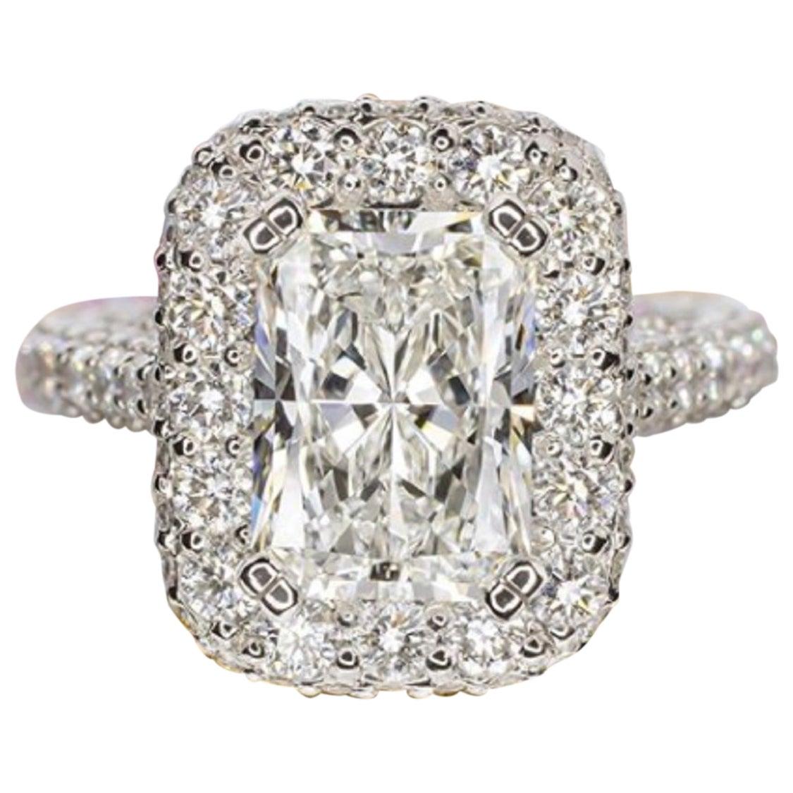 GIA Certified 6.50 Carat Radiant Cut Diamond Halo Ring