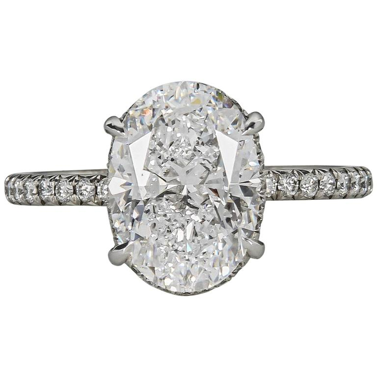 Fabulous GIA Three Carat D color Oval Diamond platinum Engagement ring For Sa