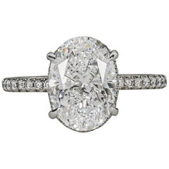 Fabulous GIA 3 Carat D Color Oval Diamond Platinum Engagement Ring