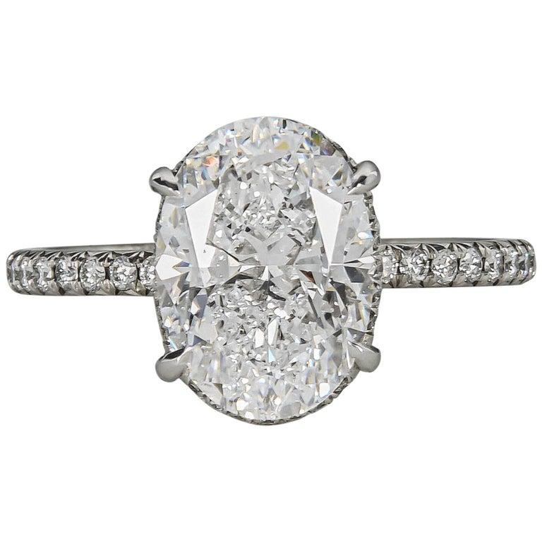 Fabulous GIA 3 Carat D Color Oval Diamond Platinum Engagement Ring For Sale