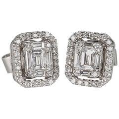 Illusion Emerald Cut Diamond Gold Stud Earrings