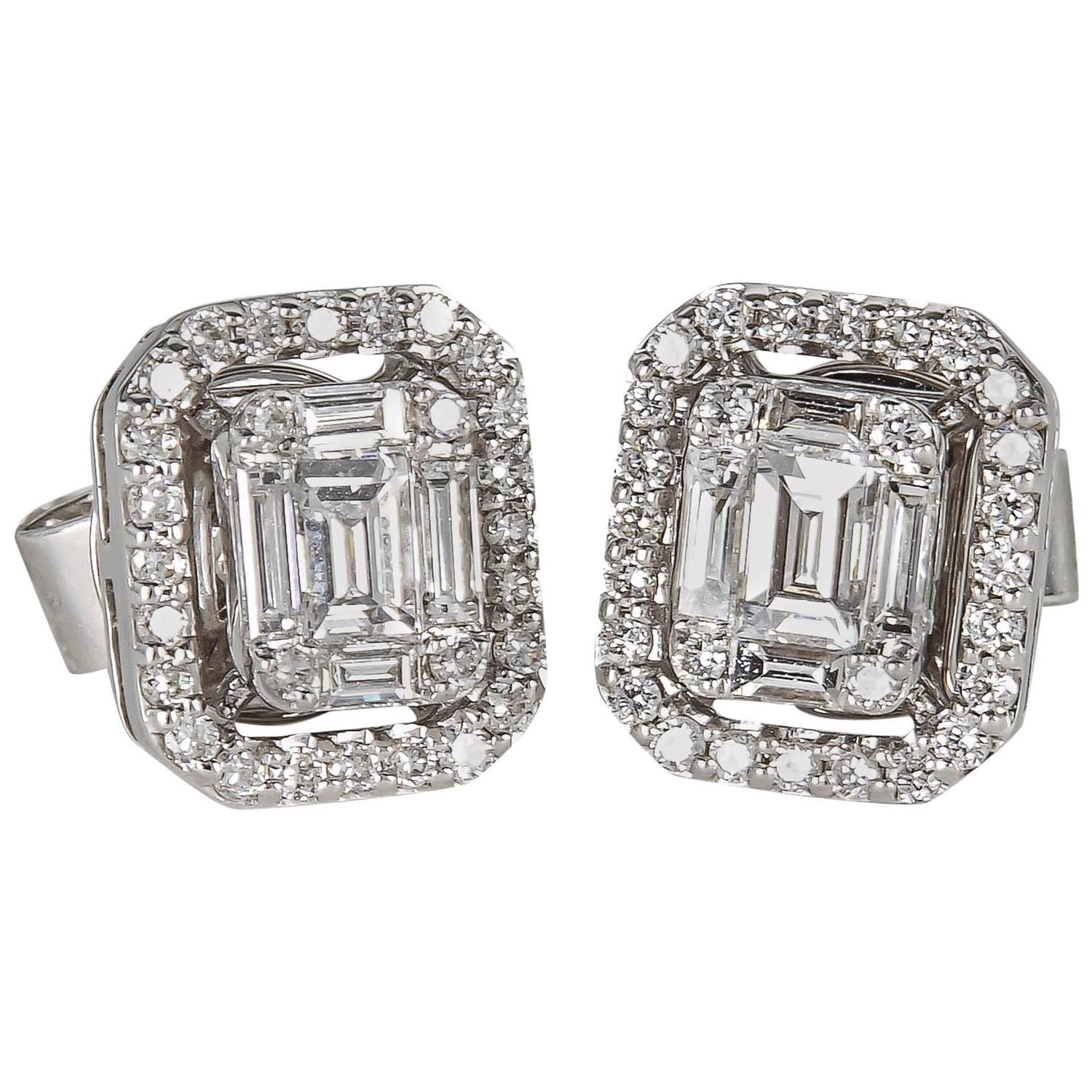 screw back ct kt square in zirconia princess earrings stud diamond cubic cut