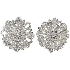 Important Diamond Platinum Button Earrings