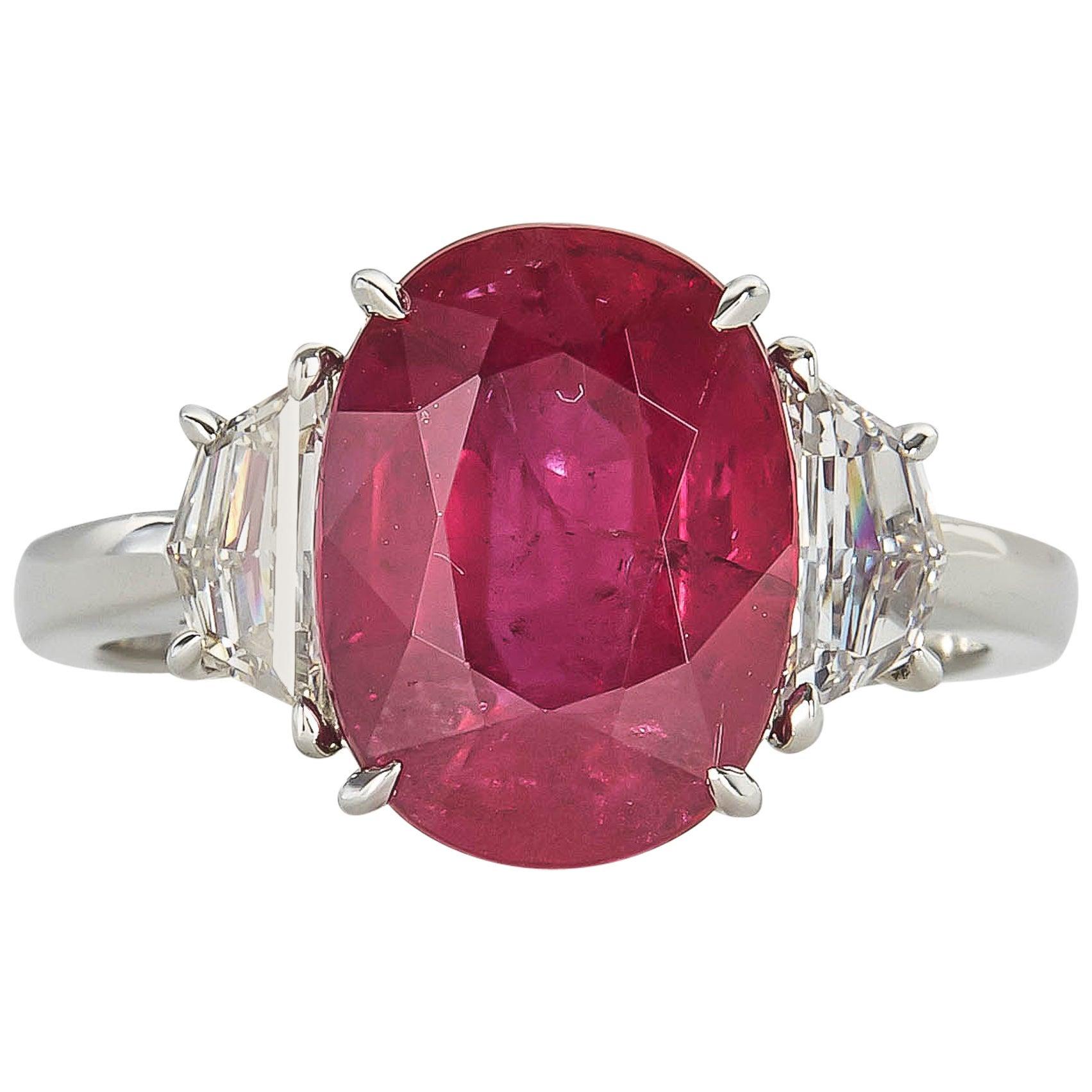 GIA cert 5.33 Carat Ruby Diamond Platinum Cocktail Ring