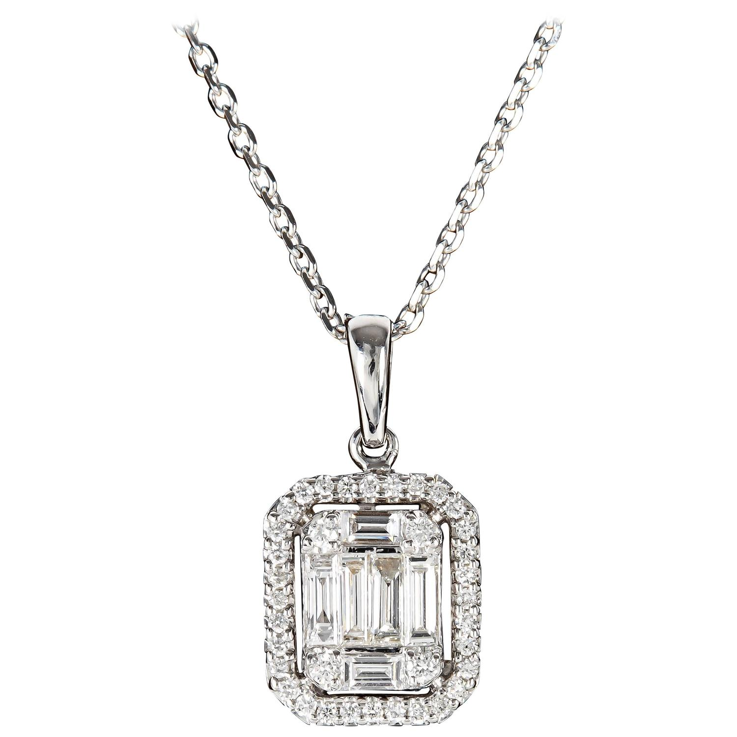 and necklace cut baguettes bling pendant inches emerald jewelry cz marquise baguette silver cross holy