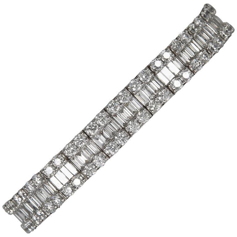 Stunning Baguette and Round Diamond Gold Bracelet