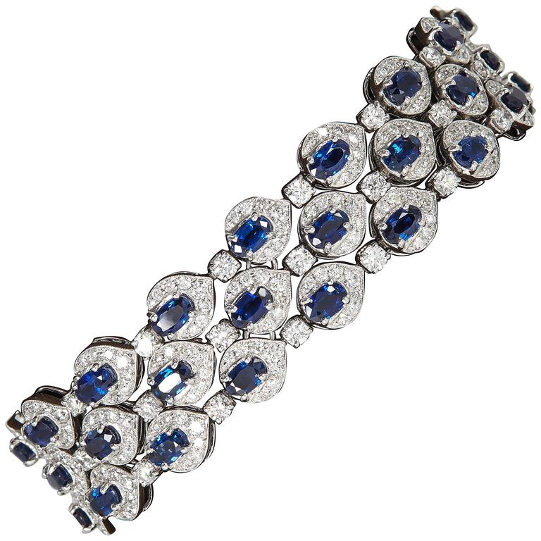 Three Row Sapphire Diamond gold Bracelet For Sale