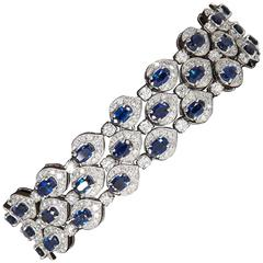 Three-Row Sapphire Diamond Gold Bracelet