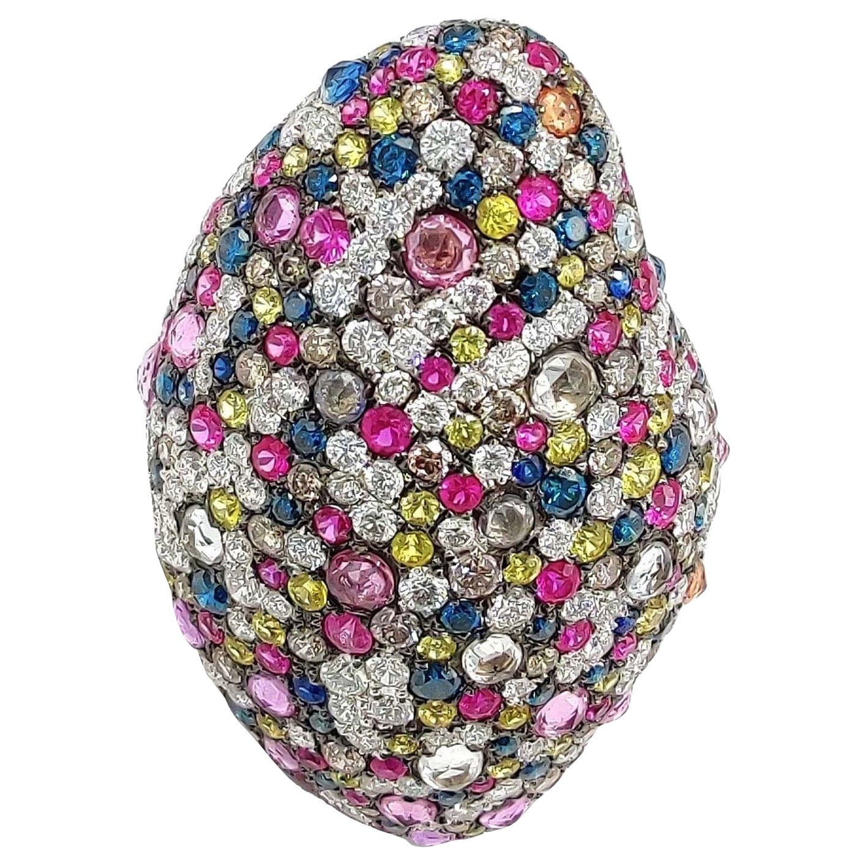 Multi Sapphire Ruby Diamond 18 Karat Gold Tutti Frutti Statement Ring