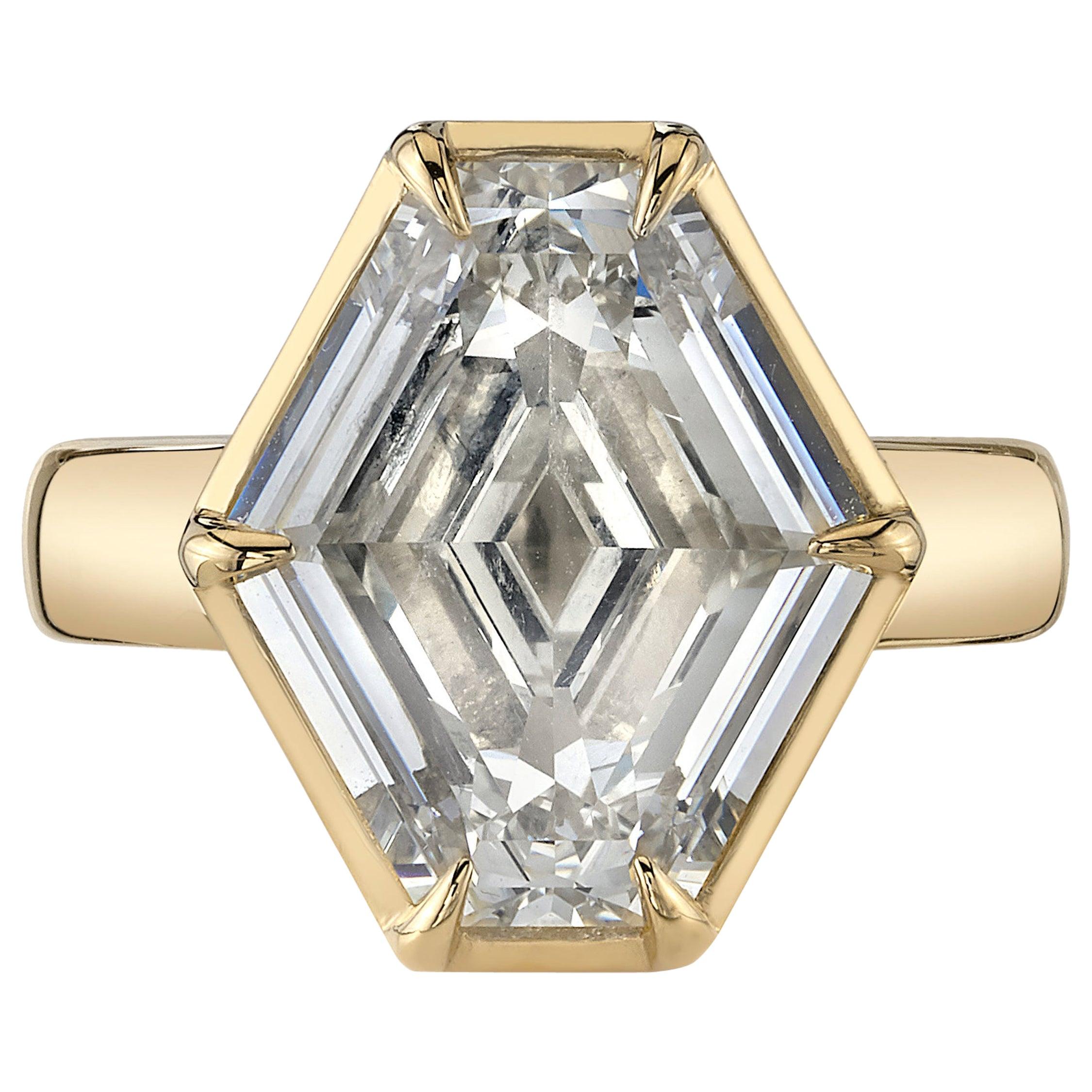 6.02 Carat GIA Certified Hexagonal Cut Diamond Set in an 18 Karat Gold Ring