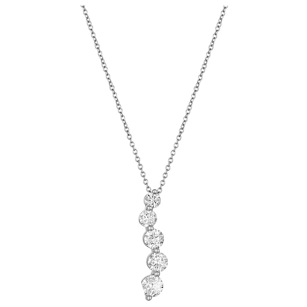 1.40 Carat Diamond Five-Stone Journey Gold Pendant Necklace