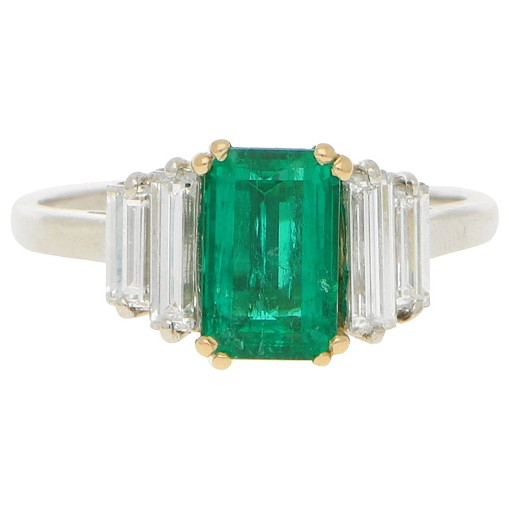 Boucheron Art Deco Style Emerald and Diamond Engagement Dress Ring in Platinum